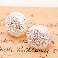 Shniy Rhinestone Cap Earrings