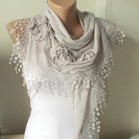 NEW 2012 Spring Model Beige  Cotton Scarf with three roses and tassel Lace