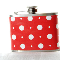 4oz Stainless Steel Hip Flask with white polka dots on red wrap - fun retro