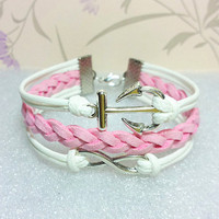 Infinity Bracelet-Love Bracelet, White Wax Cords and Pink braid bracelet.