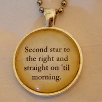 Neverland Peter Pan Necklace. Second Star To The Right Quote. 18 Inch Ball Chain.