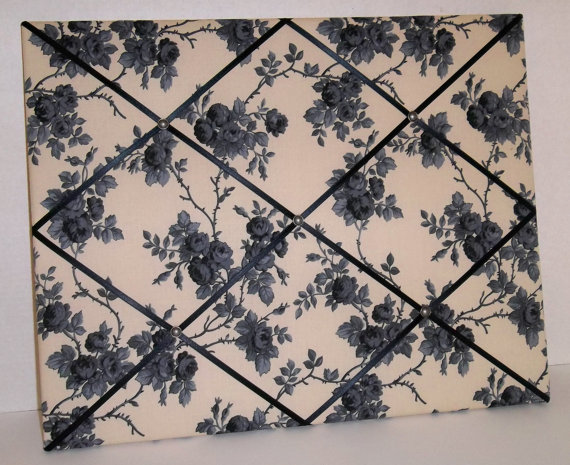 French Country Black Roses fabric ~ French Memo Board by ToileChicBoutique