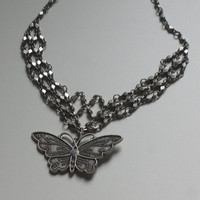 Vintage style butterfly choker necklace by CatchMyDreams on Etsy