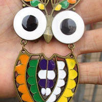 colorful owl necklace-antique brass