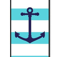 Personalized iPhone 4 case iPhone 4s case - Aqua Nautical Stripes Pattern Anchor iPhone 4 Hard Cover-plastic Iphone case