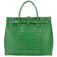 Greta Large Crocodile Embossed Shopper, Avocado