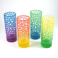 Etched Highball Glasses-Set of Four-by Woodeye Glass