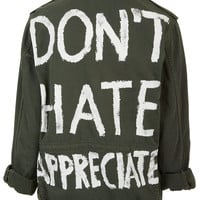 'Don't Hate Appreciate' Jacket - Casual Jackets - Jackets & Coats - Clothing - Topshop USA