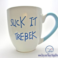 Suck It, Trebek Coffee Mug - Saturday Night Live, Celebrity Jeopardy, Parody, TV Quote