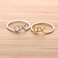 girlsluv.it - XOXO(hug &amp;amp; kisses) ring, 2 colors