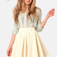 LULUS Exclusive Charm School Light Beige Mini Skirt