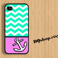 Pink Anchor Chevron Colorful Beautyful - iPhone 4 Case iPhone 4s Case iPhone 5 Case