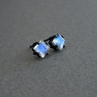 Moonstone Stud Earrings Sterling Silver and by GothicGlitter