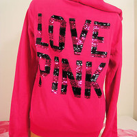 Victoria's Secret size XS ~Pink~Hoodie pink/black sequin bling stripe love puppy