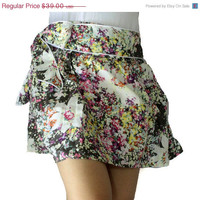 ON SALE Floral Firework cotton mini skirt with sash belt