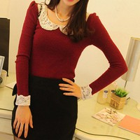 Lace sleeve peter-pan collar red winter knit blouse
