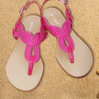 Sandals Fuchsia Flat Fisherman Woven - Chynna Dolls