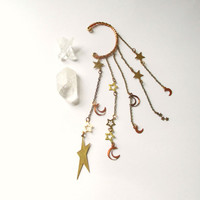 Celestial Ear Cuff. New Moon. Ear Wrap No Piercing Required