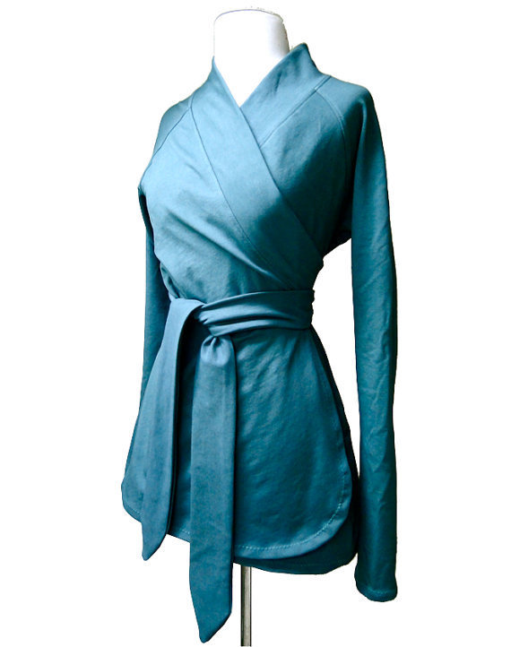 Organic cotton wrap teal wrap shirt from econica on etsy for Best custom made dress shirts online