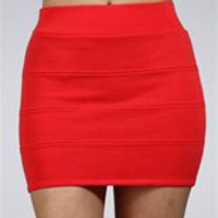 Coral Banded Mini Skirt