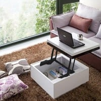 Nikka Black/White High-Gloss Lift-Top Coffee Table