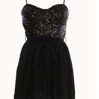 Black Little Black Dress - Sequin Bodice Dress | UsTrendy