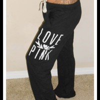 Victoria&#x27;s Secret LOVE PINK Lightweight Black Boyfriend Lounge/Sweatpants