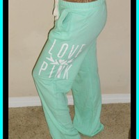 Victoria&#x27;s Secret LOVE PINK Lightweight Mint Green Boyfriend Lounge/Sweatpants