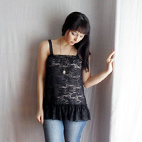 Black lace tank camisole Spring fashion by AliceCloset on Etsy