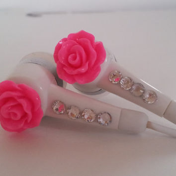 Honey Badgers Buds Big seller  Petite Hot Pink Rose Earbuds with Swarovski  crystals