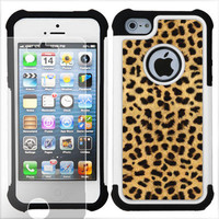 2-Layer Hybrid Case + SCREEN PROTECTOR for Apple iPhone 5 (Cheetah Gold/Blk) TD