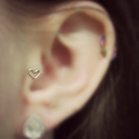 12k Gold Filled Heart Shaped Tragus Earring 20 gauge