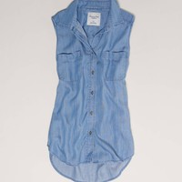 AE Denim Sleeveless Shirt | American Eagle Outfitters