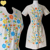 Vintage 60s EMBROIDERED Floral Mod SHIFT Dress M BOHO Hippie Lace Mad Men Party