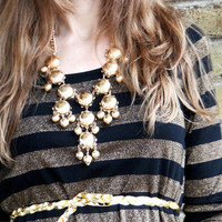 Metallic Full-Sized Bubble Necklace with Bubble Earrings available in Gold or Silver finish from JuicyDealz