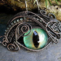 Gothic Steampunk Antiqued Evil Eye Pendant by twistedsisterarts