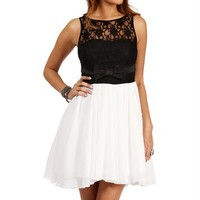 Aubrey- Black/Off White Dress