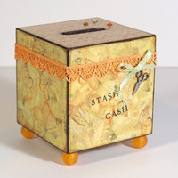 Savings Bank Decoupaged Coin Bank Yellow Light Orange by rrizzart