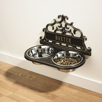 Personalized Scrolled Hanging Double Pet Feeder at Brookstone—Buy Now!