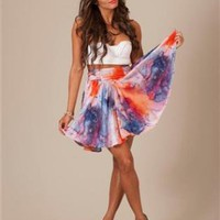Dye Print High Waisted Skirt with Big Bow Back Detail