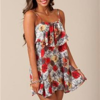 Multi Color Print Dress with Ruffle Detail &amp; Low Back