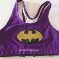 Bat Girl Super Hero Cotton Sports Bra Cheerleading