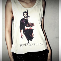 Supernatural Dean & Sam Crop Top Shirt Tank Tops T-Shirt Women Sexy Side Boob Size S, M, L