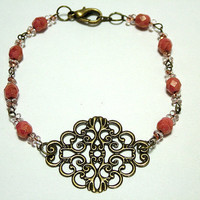 Vintage Style Hand Linked Bracelet with Czech Lumi Luster Rose Beads, Brass Filigree Connector