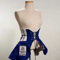 Doctor Who Tardis Inspired Cincher Skirt L/XL- Made to Order