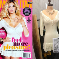 KATE UPTON COSMO COVER NOVEMBER IVORY SWEATER TIGHT BODYCON MINI DRESS RUFFLE