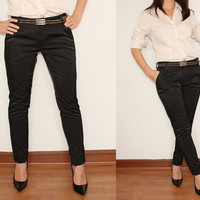 Black Cigarette Pants Slim Fit Skinny Trousers for Women Office Fashion