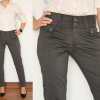 Skinny Pants High Waisted Pants Trousers in Grey faux Suede Office Fashion