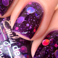 Nail polish - &quot;Cosmic Forces&quot; holographic dot glitter in a dark purple base - new 12 ml bottle