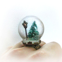Narnia inspired snow globe ring